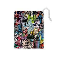 Vintage Horror Collage Pattern Drawstring Pouches (medium)  by BangZart