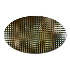 Background Colors Of Green And Gold In A Wave Form Oval Magnet by BangZart
