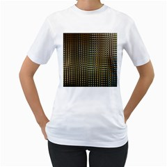 Background Colors Of Green And Gold In A Wave Form Women s T Shirt (white)