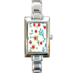 Flowers Fabric Design Rectangle Italian Charm Watch by BangZart