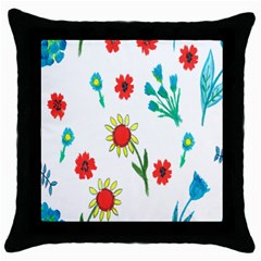Flowers Fabric Design Throw Pillow Case (black) by BangZart