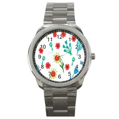 Flowers Fabric Design Sport Metal Watch by BangZart