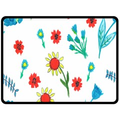 Flowers Fabric Design Fleece Blanket (large)  by BangZart