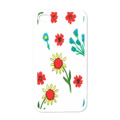 Flowers Fabric Design Apple Iphone 4 Case (white) by BangZart
