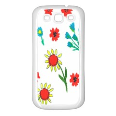 Flowers Fabric Design Samsung Galaxy S3 Back Case (white) by BangZart