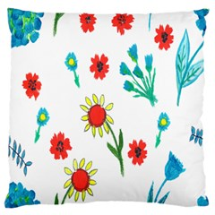 Flowers Fabric Design Large Flano Cushion Case (one Side) by BangZart