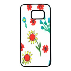 Flowers Fabric Design Samsung Galaxy S7 Black Seamless Case by BangZart