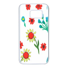 Flowers Fabric Design Samsung Galaxy S7 White Seamless Case by BangZart