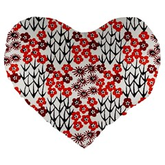 Simple Japanese Patterns Large 19  Premium Heart Shape Cushions by BangZart