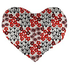 Simple Japanese Patterns Large 19  Premium Flano Heart Shape Cushions by BangZart