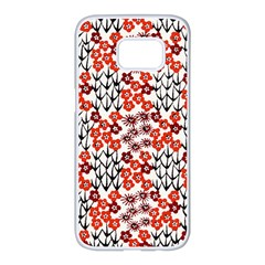 Simple Japanese Patterns Samsung Galaxy S7 Edge White Seamless Case by BangZart