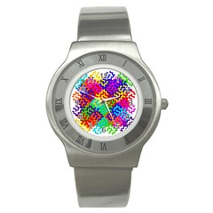 3d Fsm Tessellation Pattern Stainless Steel Watch by BangZart