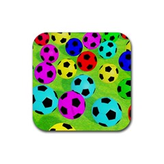 Balls Colors Rubber Square Coaster (4 Pack)