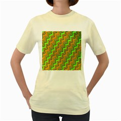 Green Red Brown Zig Zag Background Women s Yellow T Shirt by BangZart