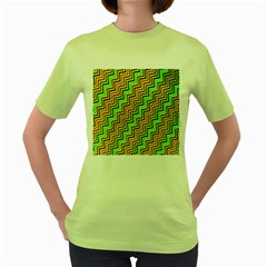 Green Red Brown Zig Zag Background Women s Green T Shirt by BangZart
