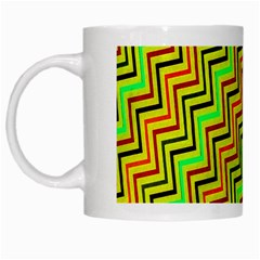 Green Red Brown Zig Zag Background White Mugs by BangZart