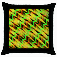 Green Red Brown Zig Zag Background Throw Pillow Case (black) by BangZart