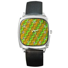 Green Red Brown Zig Zag Background Square Metal Watch by BangZart