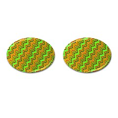 Green Red Brown Zig Zag Background Cufflinks (oval) by BangZart