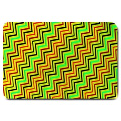 Green Red Brown Zig Zag Background Large Doormat  by BangZart