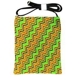 Green Red Brown Zig Zag Background Shoulder Sling Bags by BangZart