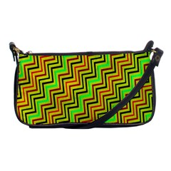 Green Red Brown Zig Zag Background Shoulder Clutch Bags by BangZart