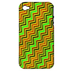 Green Red Brown Zig Zag Background Apple Iphone 4/4s Hardshell Case (pc+silicone) by BangZart
