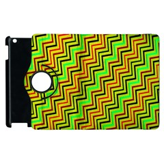 Green Red Brown Zig Zag Background Apple Ipad 2 Flip 360 Case by BangZart