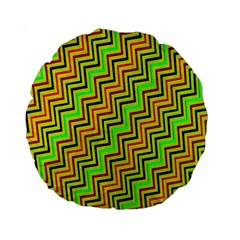 Green Red Brown Zig Zag Background Standard 15  Premium Round Cushions by BangZart