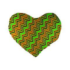 Green Red Brown Zig Zag Background Standard 16  Premium Heart Shape Cushions by BangZart