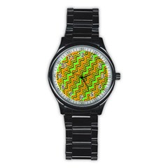 Green Red Brown Zig Zag Background Stainless Steel Round Watch by BangZart