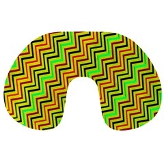 Green Red Brown Zig Zag Background Travel Neck Pillows by BangZart