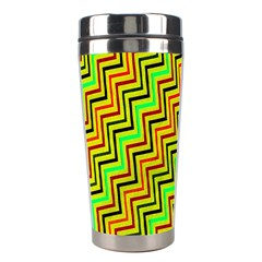 Green Red Brown Zig Zag Background Stainless Steel Travel Tumblers by BangZart
