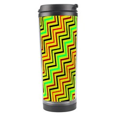 Green Red Brown Zig Zag Background Travel Tumbler by BangZart