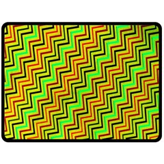 Green Red Brown Zig Zag Background Double Sided Fleece Blanket (large)  by BangZart