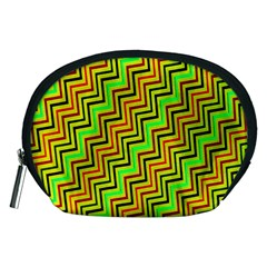 Green Red Brown Zig Zag Background Accessory Pouches (medium)  by BangZart