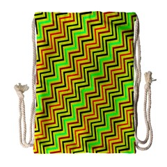 Green Red Brown Zig Zag Background Drawstring Bag (large) by BangZart