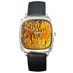 Yellow Chevron Zigzag Pattern Square Metal Watch by BangZart