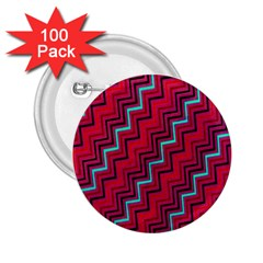 Red Turquoise Black Zig Zag Background 2 25  Buttons (100 Pack)  by BangZart