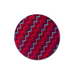 Red Turquoise Black Zig Zag Background Rubber Coaster (round)  by BangZart