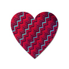 Red Turquoise Black Zig Zag Background Heart Magnet by BangZart