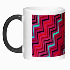 Red Turquoise Black Zig Zag Background Morph Mugs by BangZart