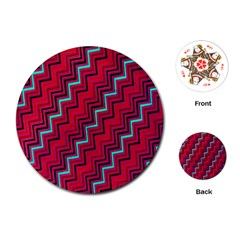 Red Turquoise Black Zig Zag Background Playing Cards (round)  by BangZart