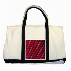 Red Turquoise Black Zig Zag Background Two Tone Tote Bag by BangZart