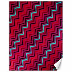 Red Turquoise Black Zig Zag Background Canvas 18  X 24   by BangZart