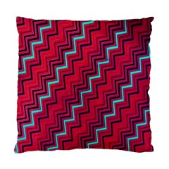 Red Turquoise Black Zig Zag Background Standard Cushion Case (two Sides) by BangZart