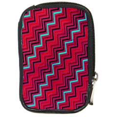 Red Turquoise Black Zig Zag Background Compact Camera Cases by BangZart