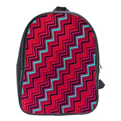 Red Turquoise Black Zig Zag Background School Bags(large)  by BangZart
