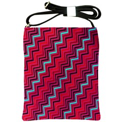 Red Turquoise Black Zig Zag Background Shoulder Sling Bags by BangZart