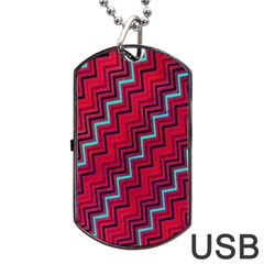 Red Turquoise Black Zig Zag Background Dog Tag Usb Flash (two Sides) by BangZart